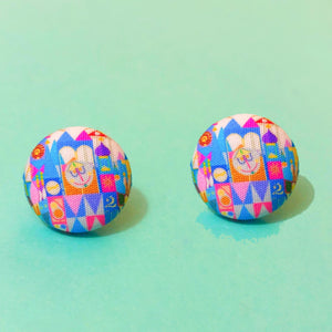Pastel Small World Inspired Fabric Button Earrings