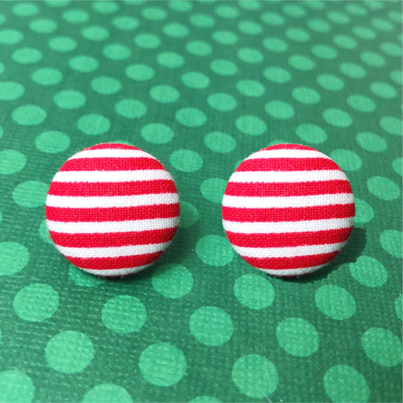 Red & White Stripe Fabric Button Earrings