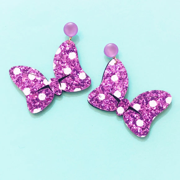 Pastel Purple Sparkle Polka Dot Minnie Bow Drop Earrings
