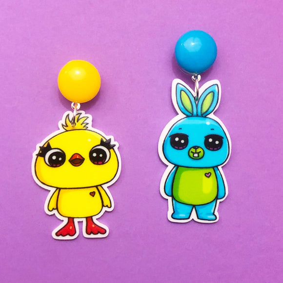 Ducky & Bunny Toy Story Drop Earrings