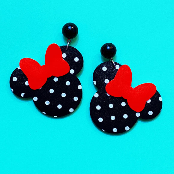 Black & White Polka Dot & Red Bow Minnie Mouse Drop Earrings