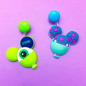 Mike & Sully Balloon Monster's Inc Inspired Drop Earrings
