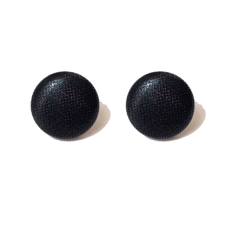 Black Shiny Solid Fabric Button Earrings