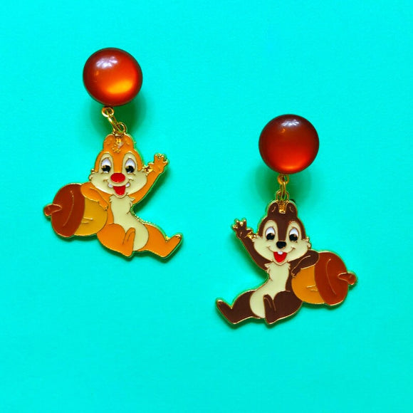 Chipmunk Enamel Drop Earrings