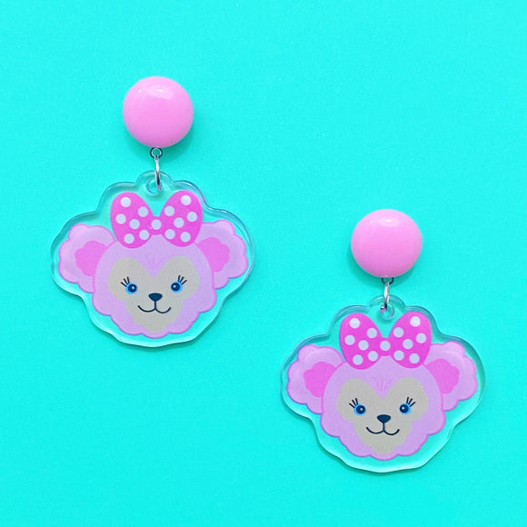 ShellieMae Light Pink Duffy & Friends Acrylic Drop Earrings