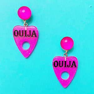 Mini Sparkle Hot Pink Ouija Board Drop Earrings