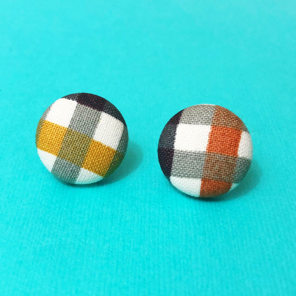 """Agnes"" Fall Autumn Mustard Brown Plaid Fabric Button Earrings"