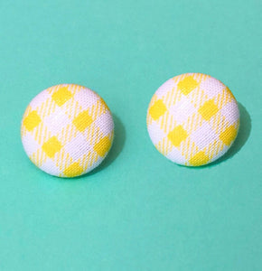 Yellow Gingham Print Fabric Button Earrings