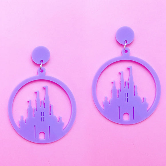 Lavender Acrylic Castle Silhouette Hoop Drop Earrings