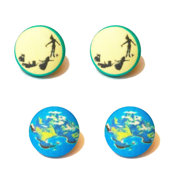 Off To Neverland Fabric Button Earring Set