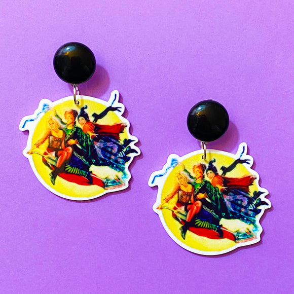 Hocus Pocus Witches Acrylic Drop Earrings