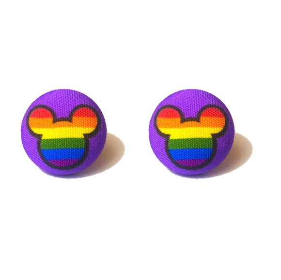 Rainbow Mouse Head Fabric Button Earrings