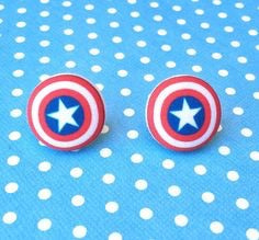 Captain America Shield Inspired Fabric Button Earrings