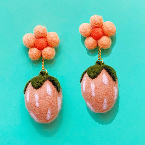 Blush Pink Strawberry & Peach Daisy Wool Felt Pom Pom Drop Earrings
