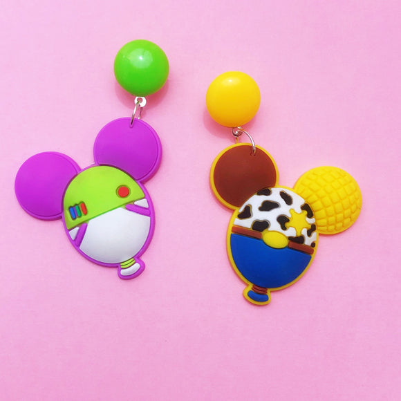 Buzz & Woody Mouse Balloon Toy Story Inspired Drop Earrings