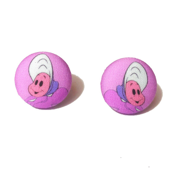 Curious Oysters Alice in Wonderland Inspired Fabric Button Earrings