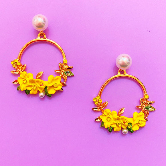 Yellow Floral Wreath Hoop Earrings with Pearl Base