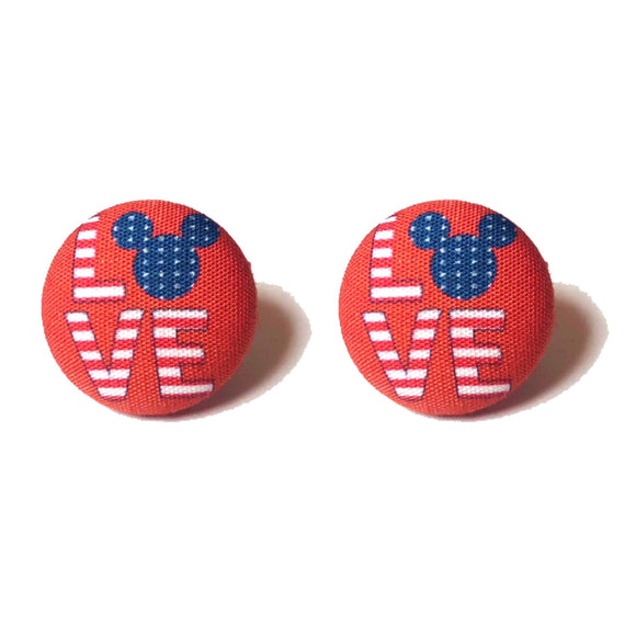 Red America Mouse Love Fabric Button Earrings