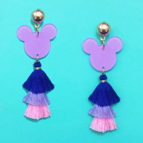 Purple, Lavender, & Pink Mouse Tassel Drop Earrings