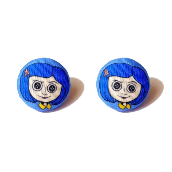 Coraline Fabric Button Earrings