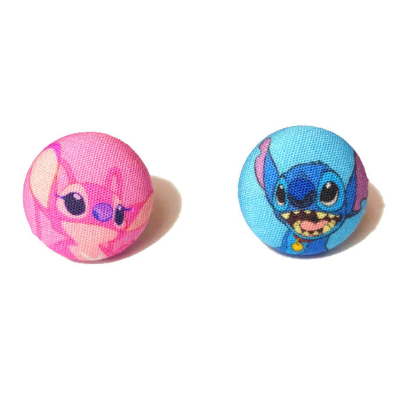 Stitch & Angel Fabric Button Earrings