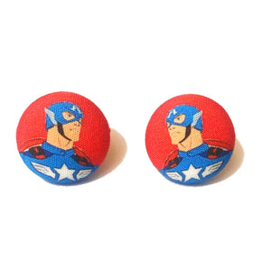 Retro Captain America Fabric Button Earrings