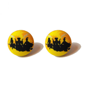 Hocus Pocus Moon Silhouette Halloween Fabric Button Earrings