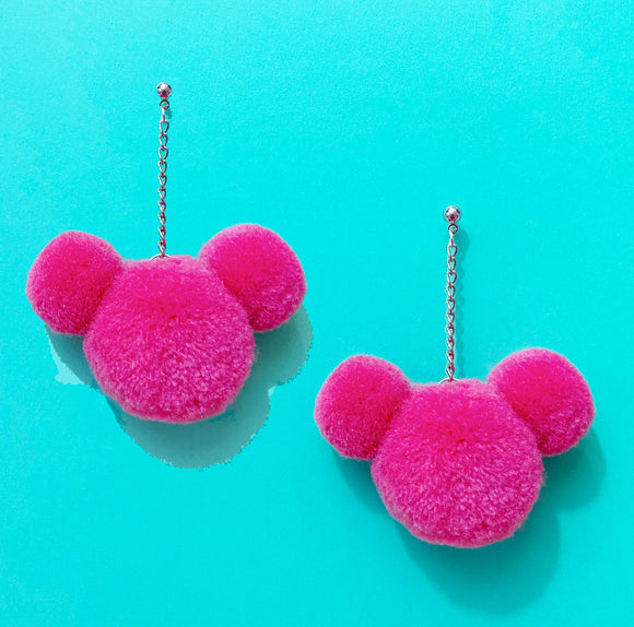 Magenta Pink Mouse Yarn Pom Pom Hanging Drop Earrings