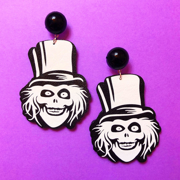 Hat Box Ghost Haunted Mansion Drop Earrings