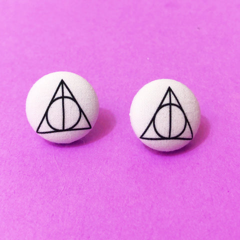 Deathly Hallows Fabric Button Earrings
