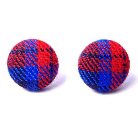 """Simone"" Winter Plaid Blue Red Fabric Button Earrings"