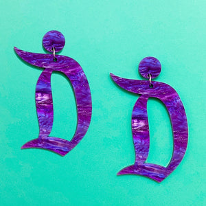 "Purple Galactic Sparkle Acrylic Disneyland ""D"" Drop Earrings"