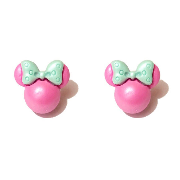 Rose Pink & Mint Green Pearlized Minnie Mouse Post Earrings