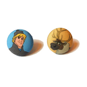 Kristoff & Sven Frozen Inspired Fabric Button Earrings