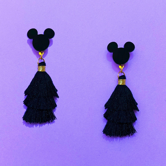 Black Mini Mouse Triple Layer Tassel Drop Earrings