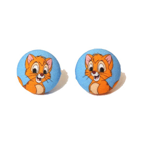 Oliver from Oliver & Company Inspired Fabric Button Earrings