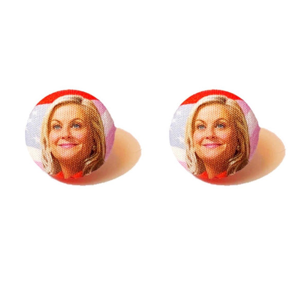 Leslie Knope Parks & Recreation Fabric Button Earrings