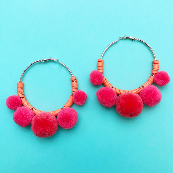 Melon Orange Pom Pom Hoop Earrings