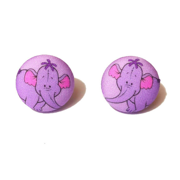Heffalump Winnie The Pooh Inspired Fabric Button Earrings