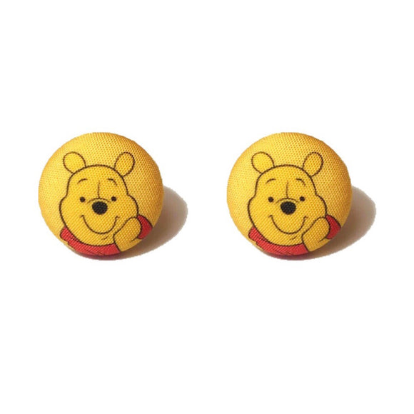 Winnie The Pooh Inspired Fabric Button Earrings