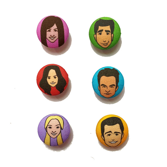 Friends TV Show Inspired Mix-and-Match Fabric Button Earrings