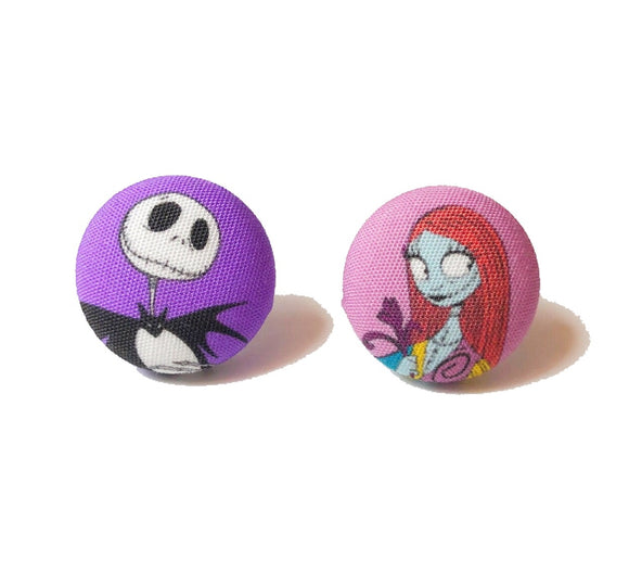 Jack & Sally Skellington Fabric Button Earrings