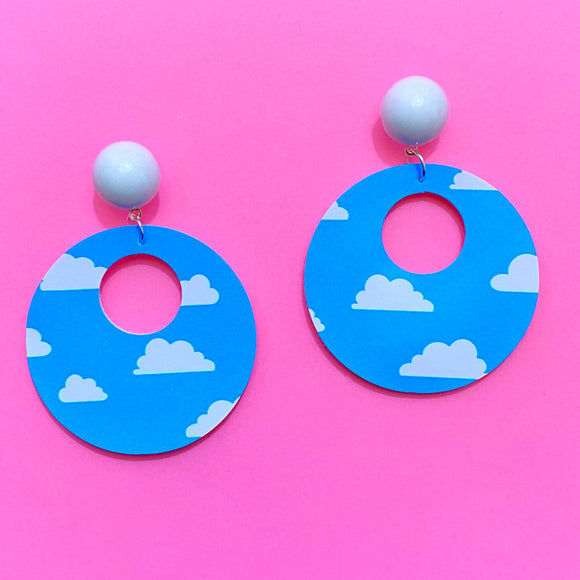 Toy Story Cloud Print Retro Round Drop Earrings