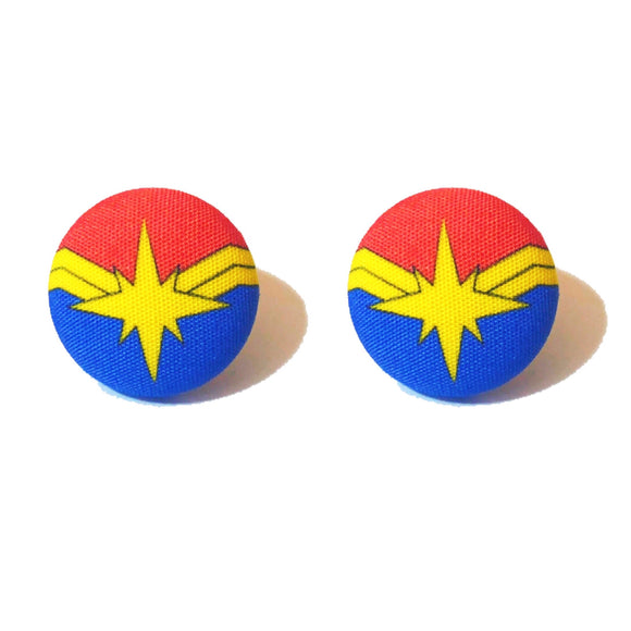 Captain Marvel Fabric Button Earrings