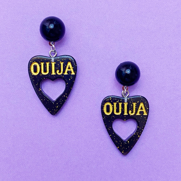 Mini Sparkle Black Heart Center Ouija Board Drop Earrings