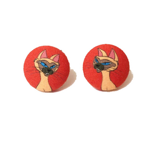 Si & Am Siamese Cat Lady & The Tramp Inspired Fabric Button Earrings