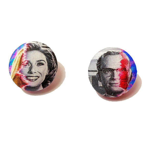 WandaVision Inspired Fabric Button Earrings