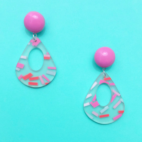 Pink & Red Sprinkles Acrylic Geometric Rhombus Drop Earring