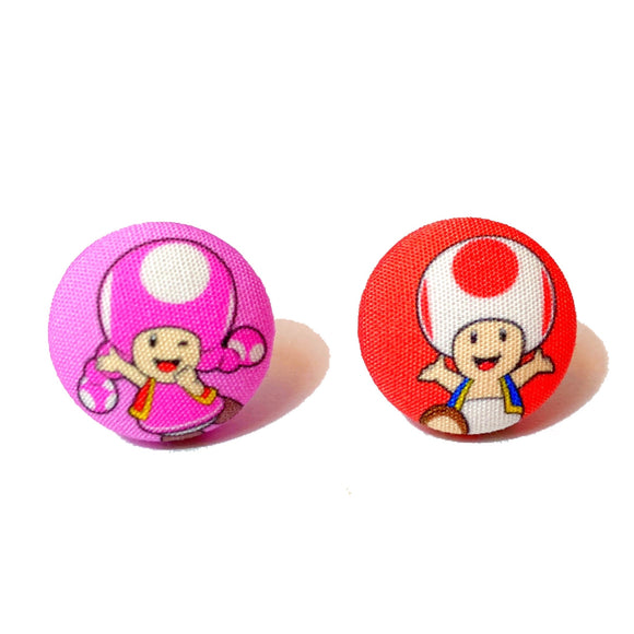 Toad & Toadette Nintendo Inspired Fabric Button Earrings