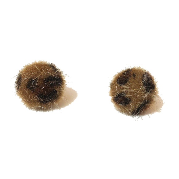 Small Leopard Print Fuzzy Round Post Earrings